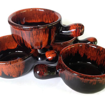 French Onion Soup Bowls, Drip Glaze Pottery Crocks, Evangeline 941, Made in Canada