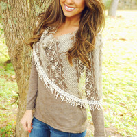 Happy Ending Top: Brown/Lace