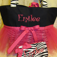 Custom Handmade Zebra print tutu hot pink diaper bag/ toddler tote and travel wipe case you choose name