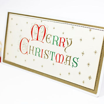 greeting card vintage with envelope | Christmas | handmade upcycled | Merry Christmas script