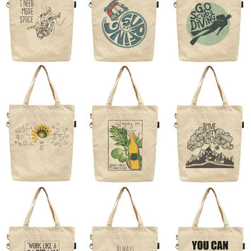 Women Life Quotes Printed Canvas Tote Shoulder Bag WAS_40