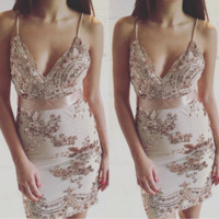 hot shining sequins straps dress