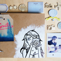 Instax Album with original drawing | Girl with camera | with wooden figures, stickers etc.