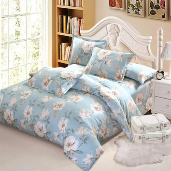 Princess ruffle blue flower bedding set adult girl full queen king romantic elegant bedclothes quilt cover pillow case bed sheet