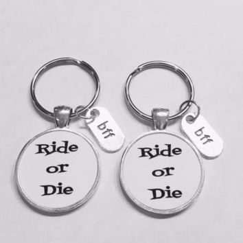Best Friend Ride Or Die Bff Friendship Partners In Crime Gift Keychain Set