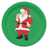 Smiling Santa Paper Plates 9 Inch Paper Plate