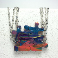 Interlocking Puzzle Necklaces Set of 4 Tie Dye Polymer Clay Best  Friend Jewelry Set 168