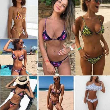 summer Bikinis Push Up Swimwear Women Swimsuit Bathing Suit Biquini 2018 New Print Bikini Set Femme Beach Wear