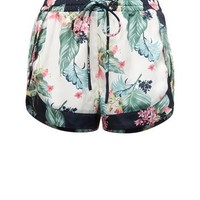 Soraya Off White Satin Floral Leaf Print Pyjama Shorts | New Look