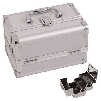 Justcase Silver 2-Tiers Extendable Trays Professional Light Weighted Makeup Artist Cosmetic Train case Lockable Box / Kit / Bag With Mirror