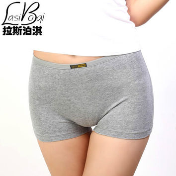 New Ms Fashion Sexy Women's Cotton Boxer Panties Boys Fat Plus Size Seamless Mid Waist Boxer Shorts Safety Pant Thick