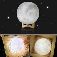 Realistic 3D Color Changing Moon Lamp