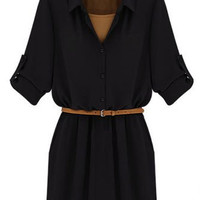 Black Long Sleeve Button-Up Belted Dress
