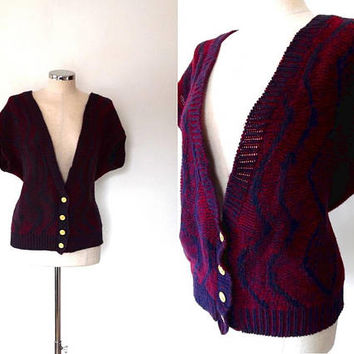 Knitted button up shrug / diamond knit / maroon / dark blue / vintage / 1950s style / gold button / short sleeve / ribbed / knitted top