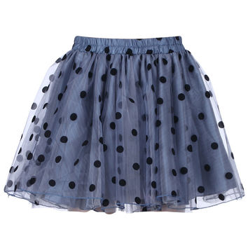 "ROMWE | Dual-tone ""Polka Dots"" Blue Skirt, The Latest Street Fashion"