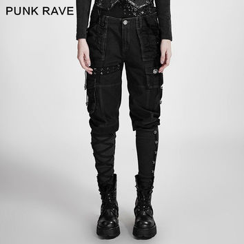 PUNK RAVE STEAMPUNK FASHION NOVELTY COSPLAY VINTAGE PERSONALITY ROCK BLACK GREEN WOMEN PANTS