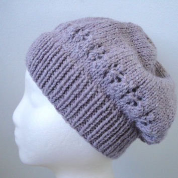 Lavender Slouch Hat for Women & Girls, VALENTINES DAY GIFT, Knit, Lace Flower Stars, Slouchy BeanieTam Puff Beret Toque Toboggan