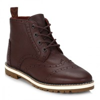 TOMS Mens Dark Brown Brogue Leather Boots