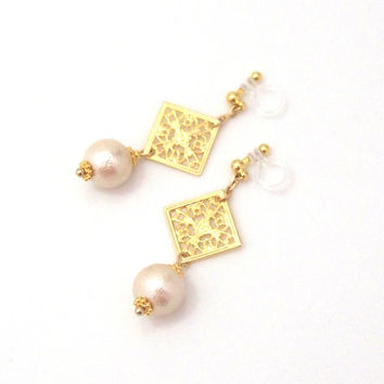 Pierced Look! Dangle Oriental Gold Filigree and Light Beige Cotton Pearl Invisible Clip on Earrings, Wedding Pearl Clip on Earrings