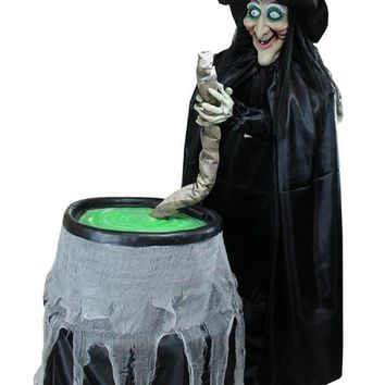 5.5' Touch Activated Lighted Witch and Cauldron Animated Halloween Decoration with Sound