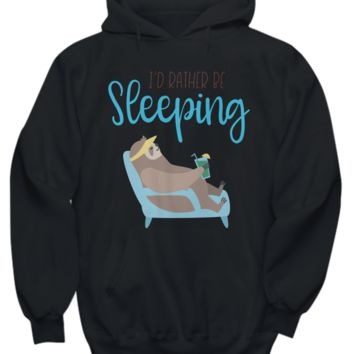 Festival of Sleep I'd Rather Be Sleeping Sloth on the Beach Hoodie