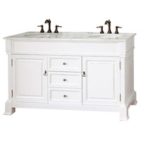 Shop Bellaterra Home White (Rub Edge) Undermount Double Sink Bathroom Vanity with Natural Marble Top (Common: 60-in x 22-in; Actual: 60-in x 22.5-in) at Lowes.com
