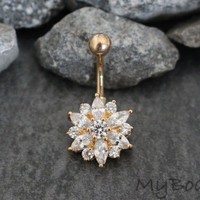Belly Button Ring Stud, Gold Belly Ring, Navel Ring, Crystal Navel Jewelry, Flower Belly Button Jewelry, Belly Button Piercing