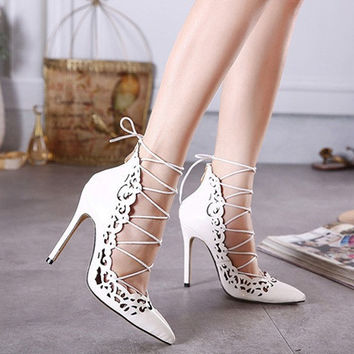 Womens Elegant Design Lace Ankle High Heels