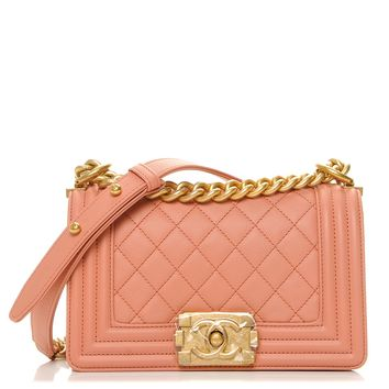 CHANEL Caviar Quilted Small Boy Flap Powder Pink