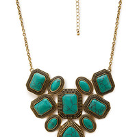 FOREVER 21 Faux Turquoise Statement Necklace Turquoise/Gold One