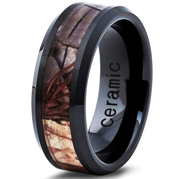 Black Ceramic Men's Hunting Camo Ring, Comfort Fit Band, 8mm Sizes 8 to 15