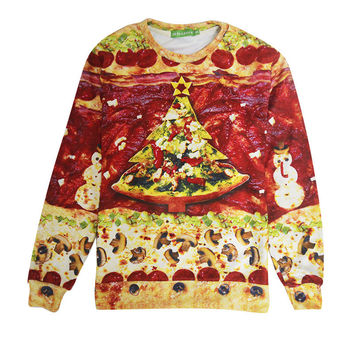 Christmas Ugly Sweater Pizza Tree 3D Photo Unisex Clothing