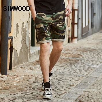 SIMWOOD 2017 New Summer Camouflage  Denim Shorts Men Fashion Casual  Cotton Jeans Slim Fit Knee Length  Brand Clothing ND017005
