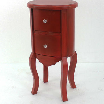 Funny Doll-like Red Wooden End Table with 2 Drawers