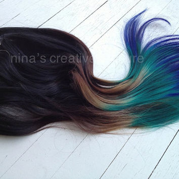 "Peacock Ombre, Black or Dark Brown clip in hair extensions with  green and blue,  7 Pieces,20""/Customize your Base."