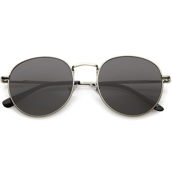 Classic Metal Round Sunglasses With Round Flat Lens 50mm