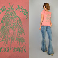 Vtg 70s DEADSTOCK 'This Bud's For You!' MARIJUANA colorado weed t-shirt, extra small-medium