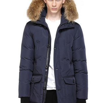 Mackage men's bryan bown parka with fur hood TRIM jacket/Dark blue