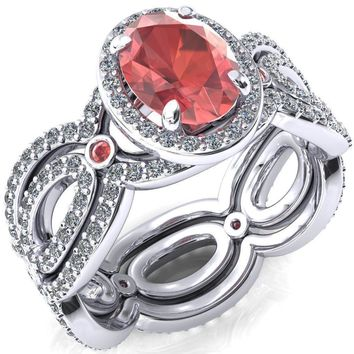 Polaris Oval Lab-Created Padparadscha Sapphire Diamond Halo Full Eternity Padparadscha Sapphire Bezel Diamond Accent Ring
