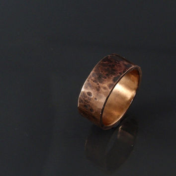 hammered bronze ring wedding ring band 8mm wide mens ring handmade jewelry rustic wedding ring
