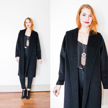 Vintage 1950s LILLI ANN Coat - Black Wool Mohair Swing Coat 50s - Large / Medium