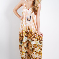 Palm Tree Breeze Maxi Dress - Peach