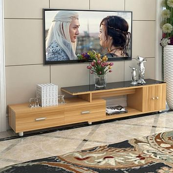 Modern Wooden Panel TV Stand With Cabinet  Assembly