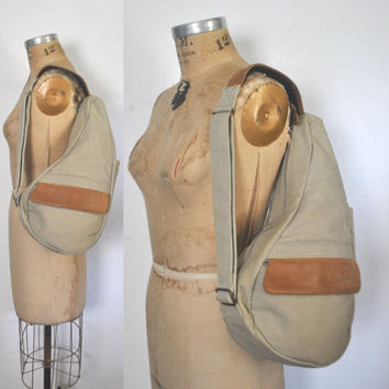 Sling Body Bag / Canvas Leather Purse / LL Bean