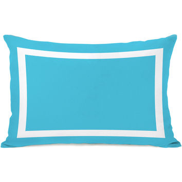 """Samantha Square"" Outdoor Throw Pillow by OneBellaCasa, Aqua Blue, 14""x20"""