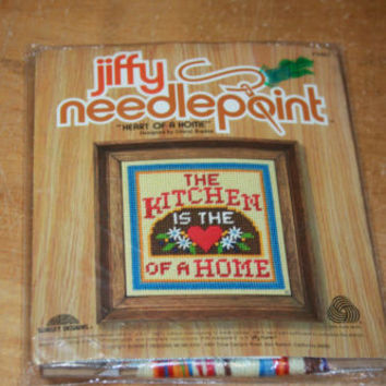 Vintage 1971 Jiffy Needlepoint Kit The Kitchen Is The Heart Of The Home NOS New