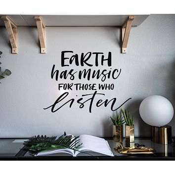 Vinyl Wall Decal Quote Earth Listen Music Interior Decor Stickers Mural gz002