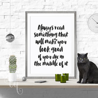 Wall art decor P.J. O'Rourke quote, minimalistic typography  giclée print