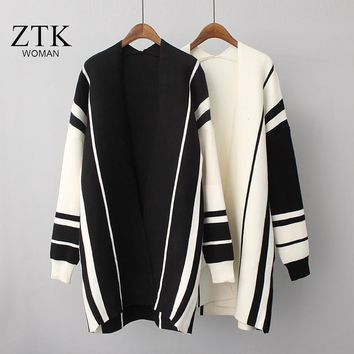 women sweater black and white striped knitted long cardigans ladies autumn coat 2018 new arrivals harajuku winter women clothes