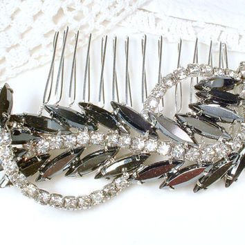 OOAK Black & Clear Rhinestone Bridal Hair Comb, Vintage Charcoal Gray Leaf Feather Brooch to Bridal Accessory Wedding Headpiece Gothic 1950s